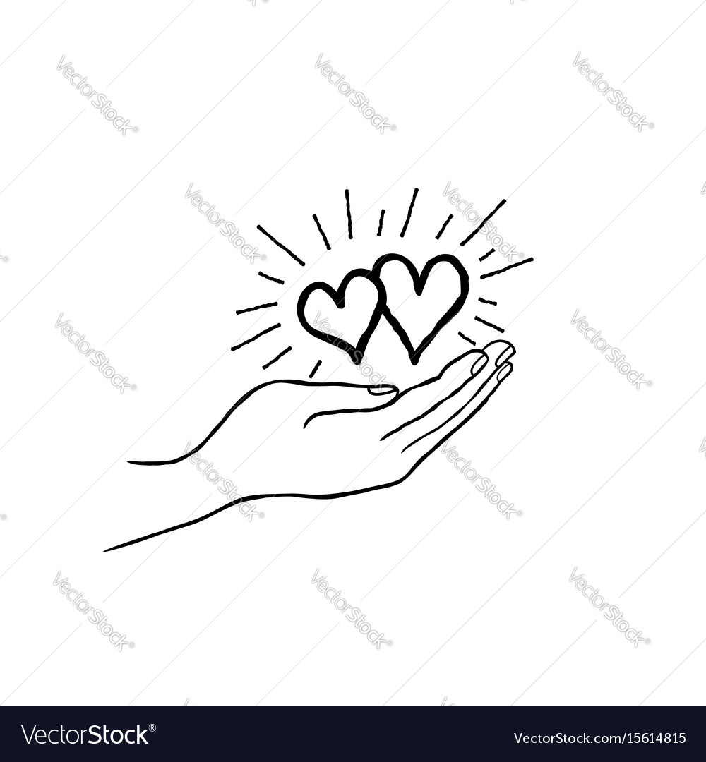 Two heart in love in your hand strong family icon vector image