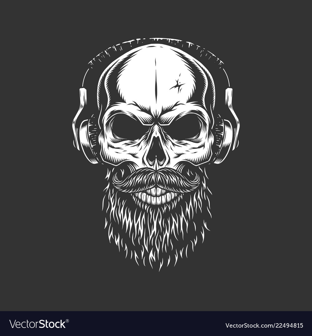 Vintage monochrome skull wearing headphones