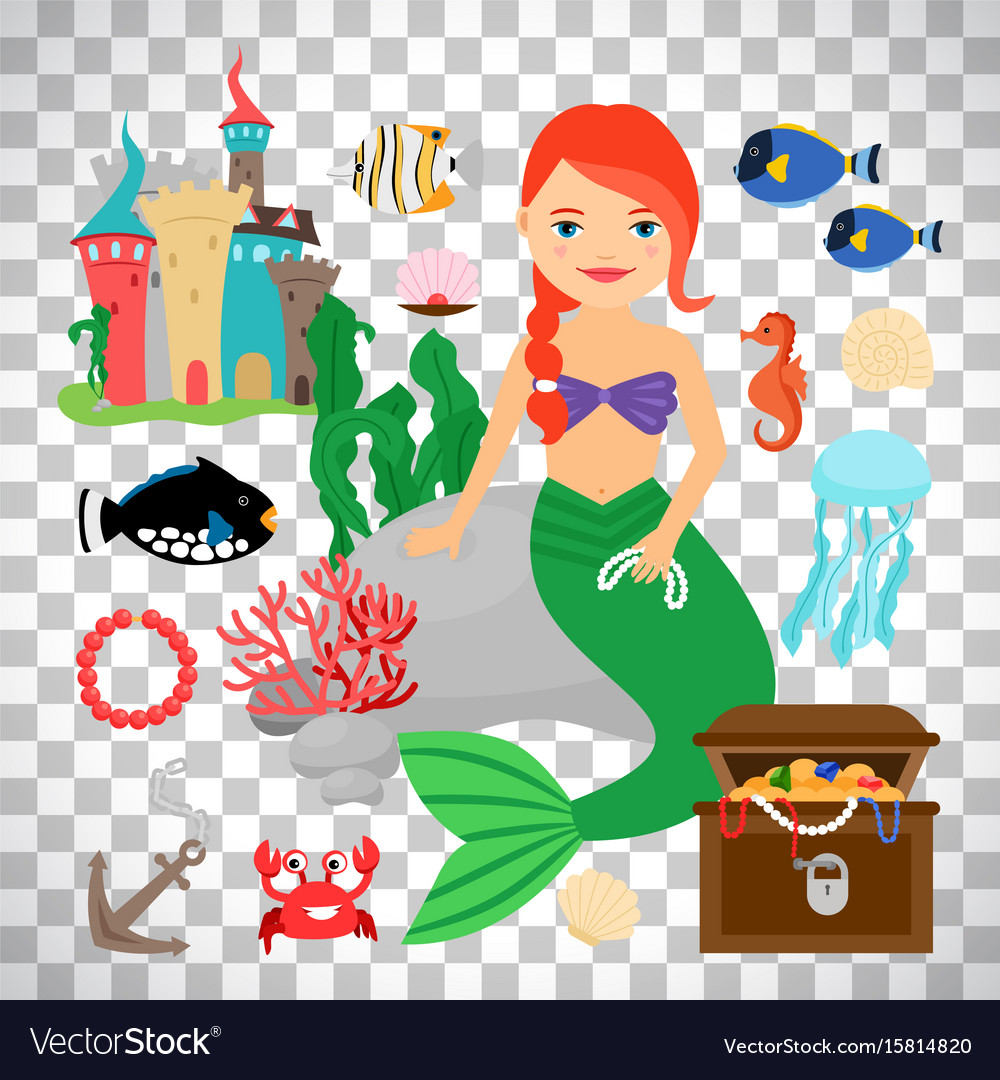 Cute mermaid with marine life
