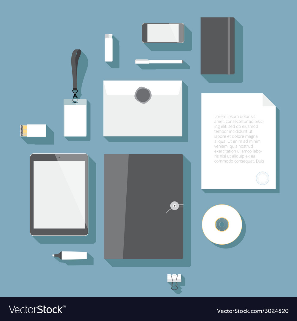 Flat design corporate identity mock-up template vector image
