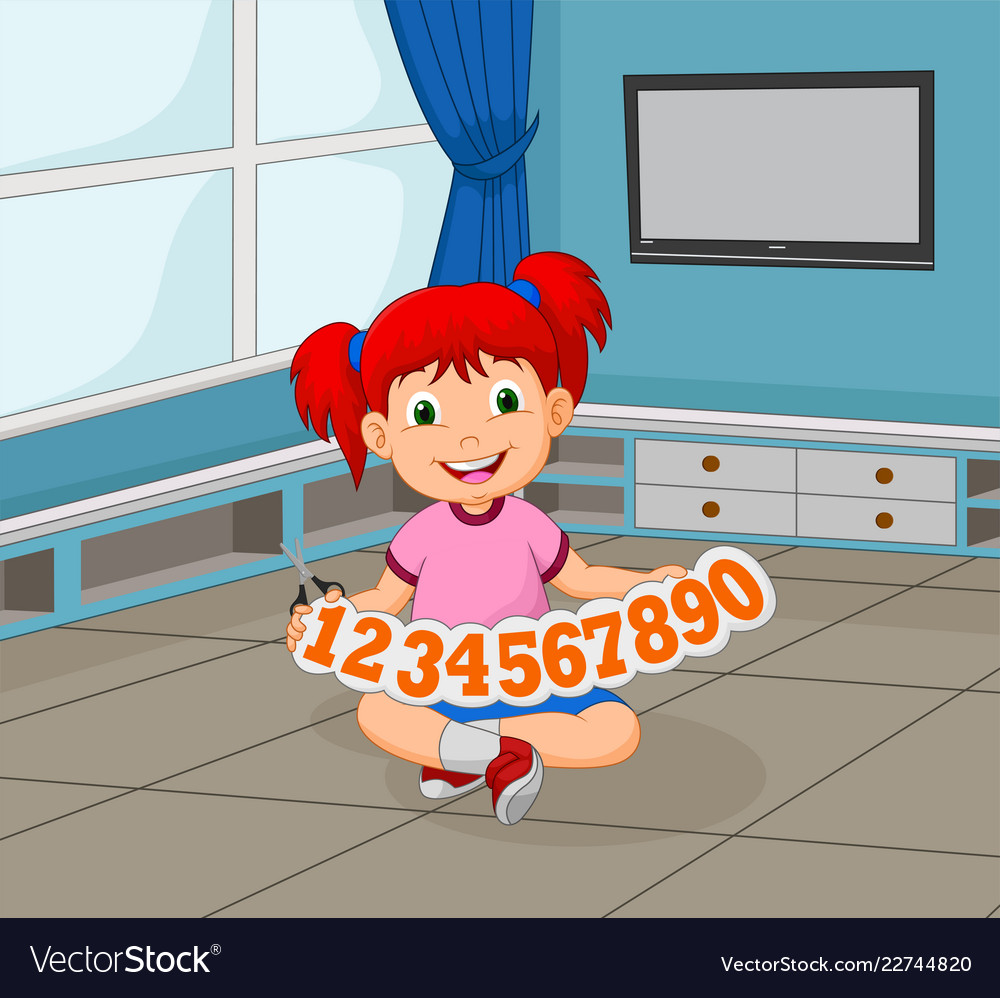 Girl cartoon holding numbers cut out and scissors
