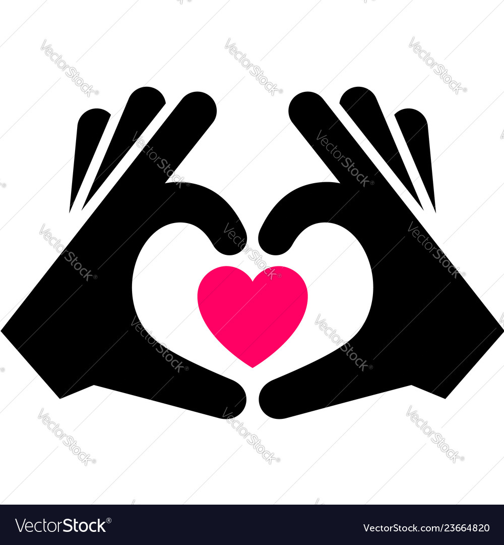 Hands with heart icon two-tone silhouette