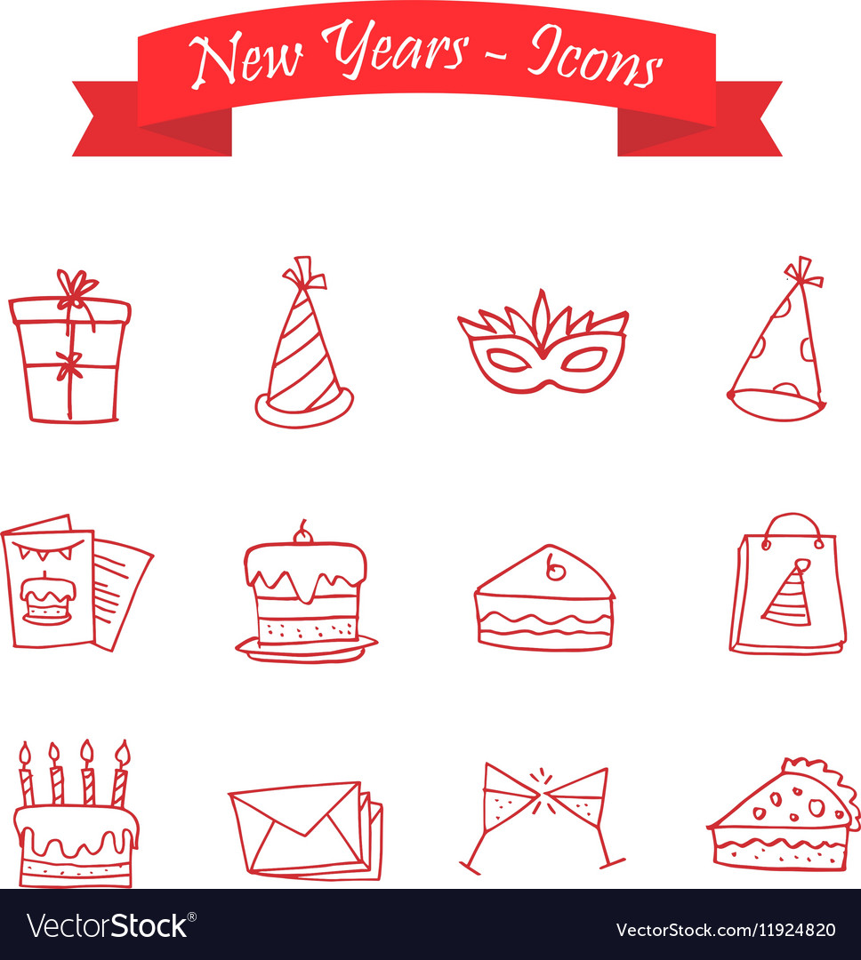Happy New Year icons art vector image