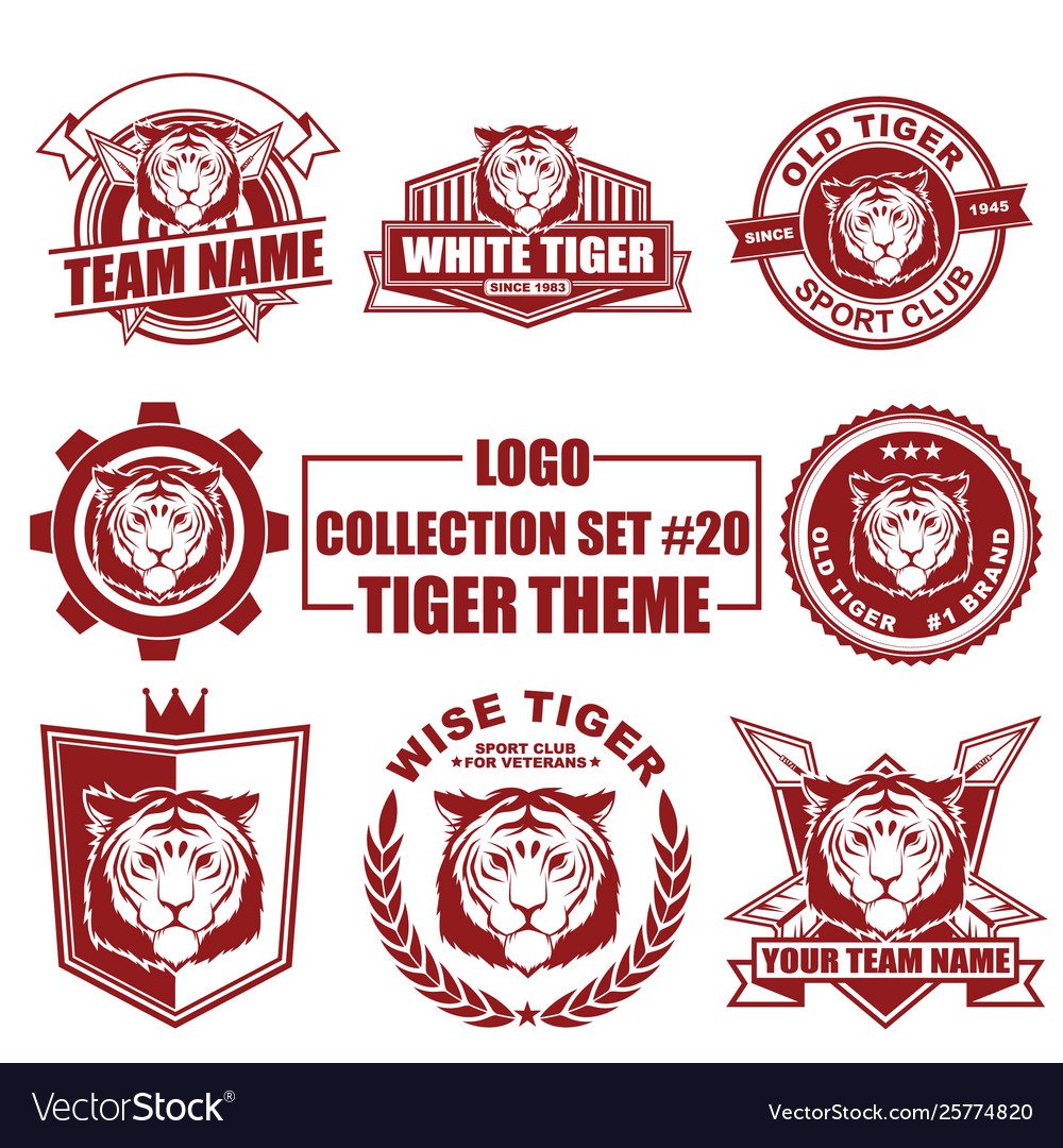 Logo collection set with tiger theme
