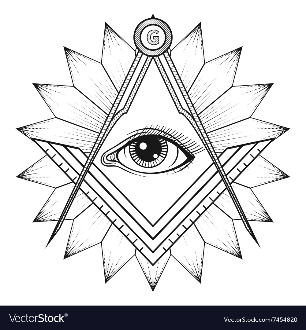 Masonic Square And Compass Symbol Freemason Vector Image
