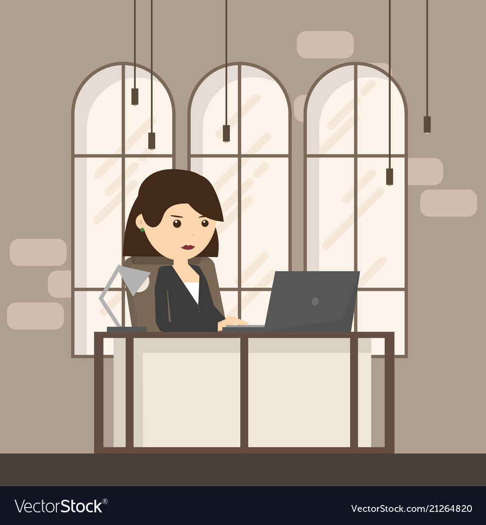Office workplace with table window business