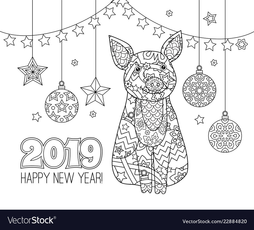 Pig symbol new year 2019 in entangle inspired