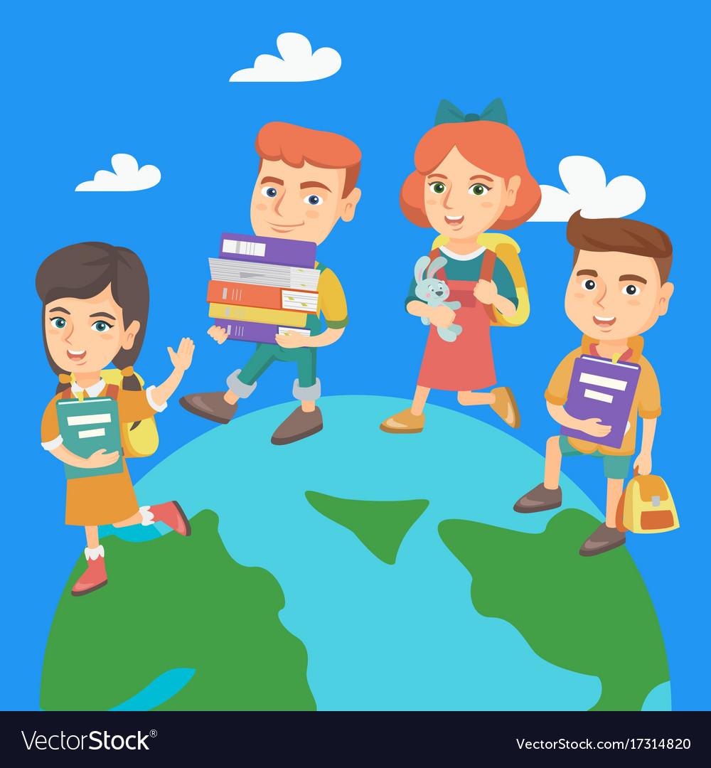 Preschool kids walking around the earth planet vector image
