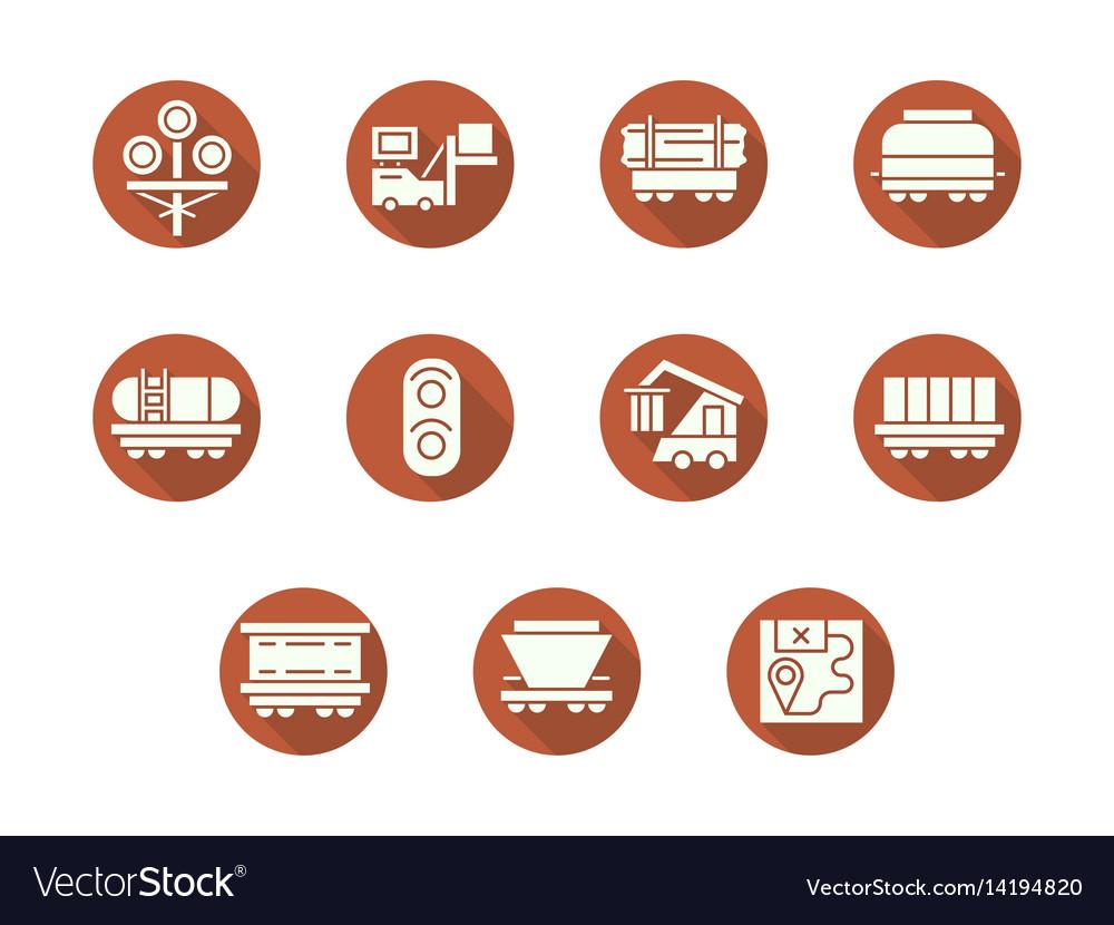 Railroad transportation round flat icons