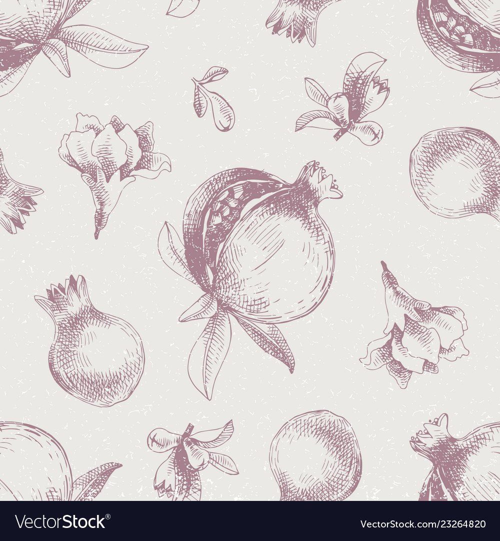 Seamless pattern with hand drawn pomegranates