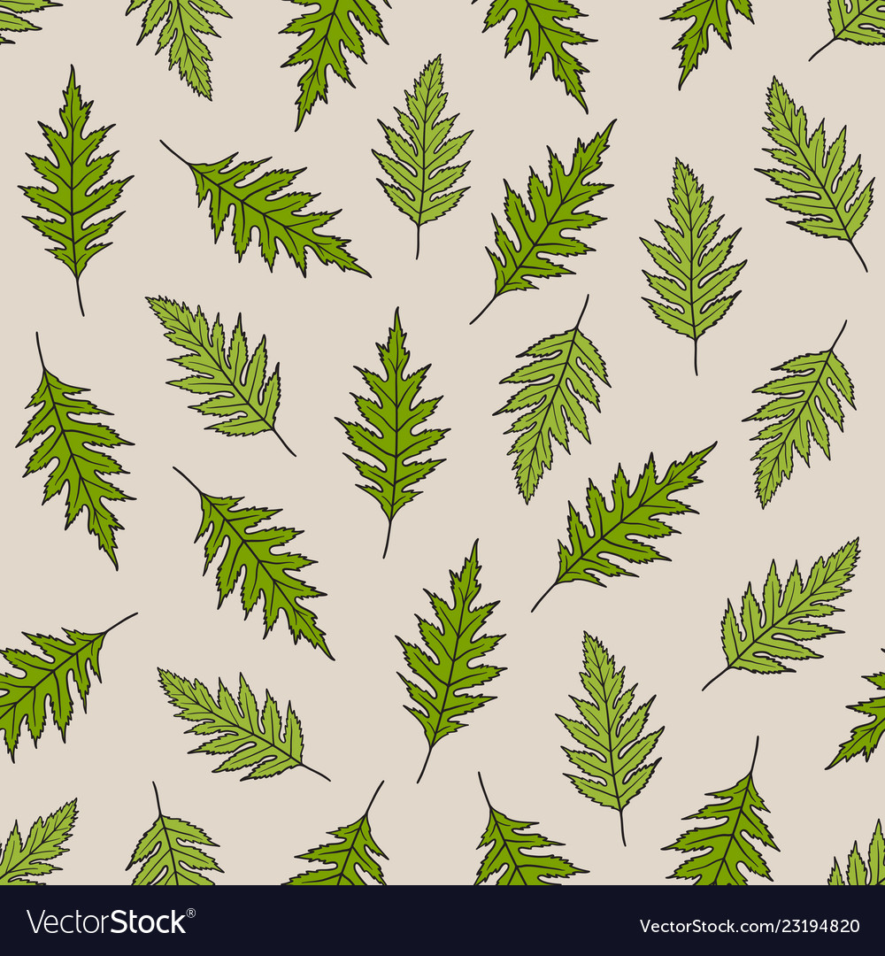 Seamless pattern with poppy leaves