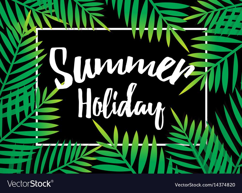 Summer holiday beach palm with dark background