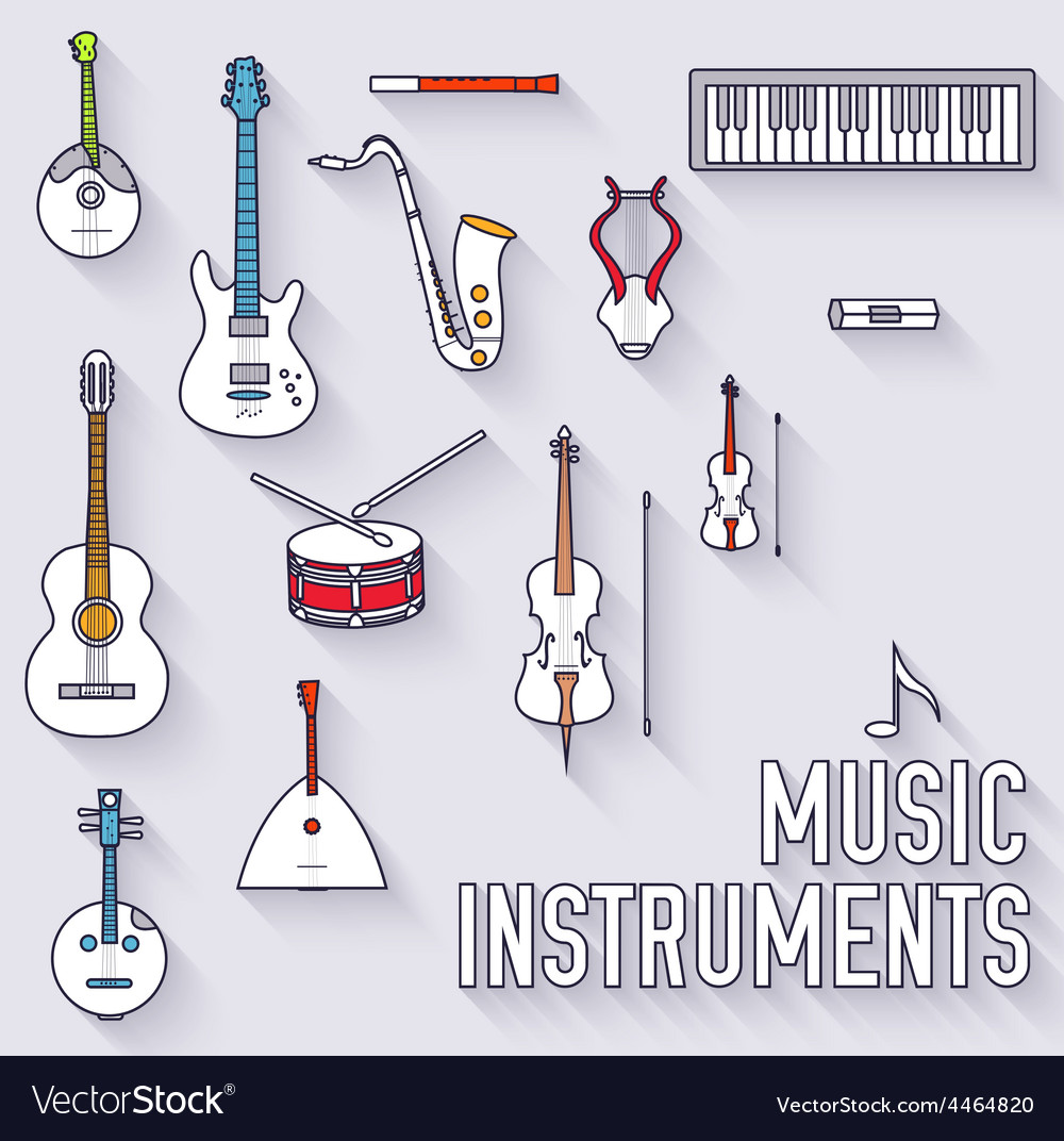 Thin lines outline music instruments icons
