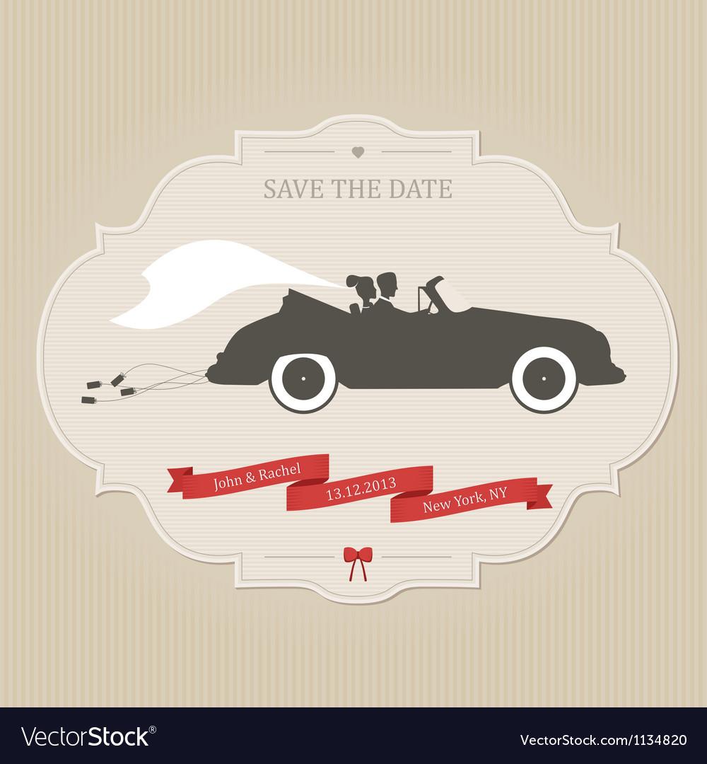 Vintage wedding invitation with retro car dragging vector image