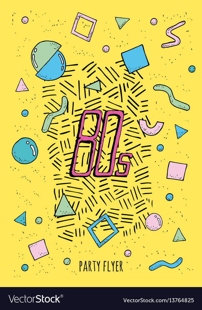 Abstract poster retro style 80s with objects