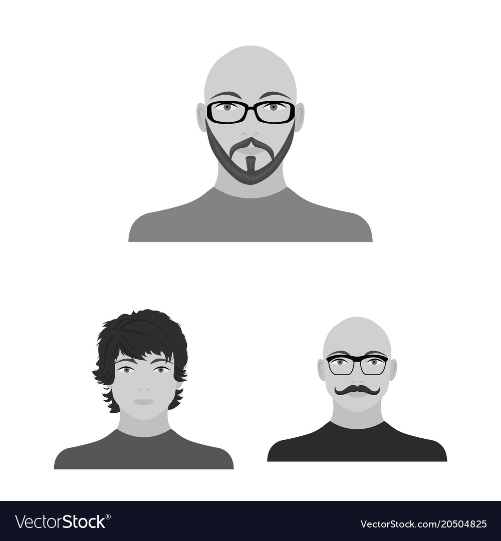 Avatar and face monochrome icons in set collection