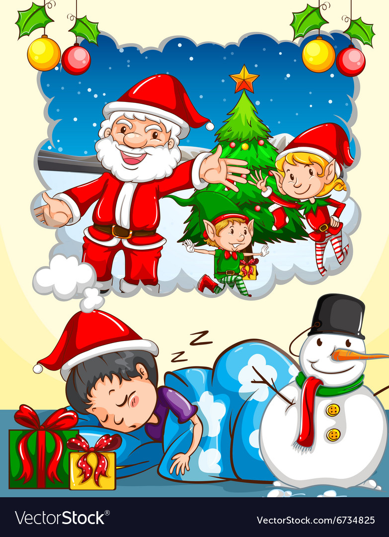 Christmas Festival Cartoon Images.Boy Dreaming About Christmas Festival