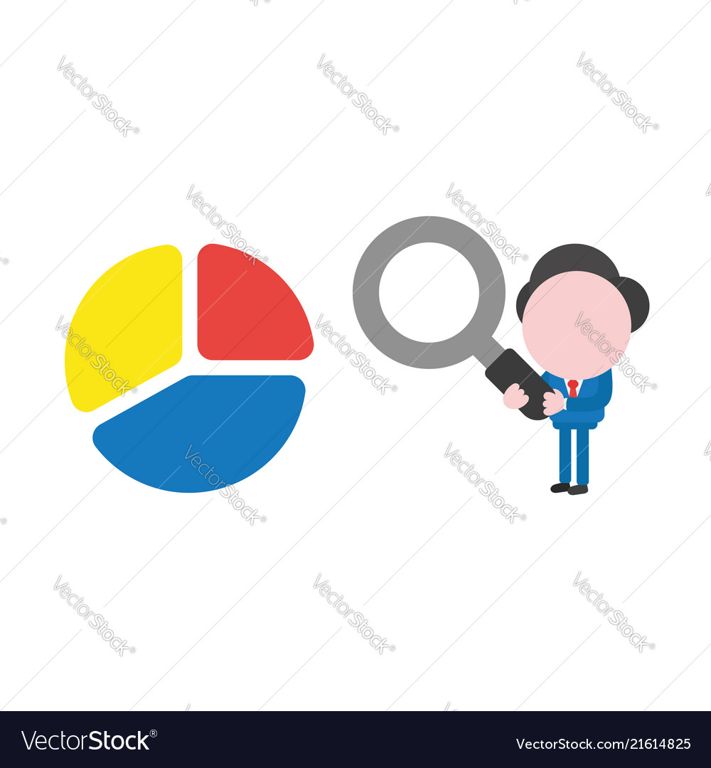 Businessman character holding magnifying glass
