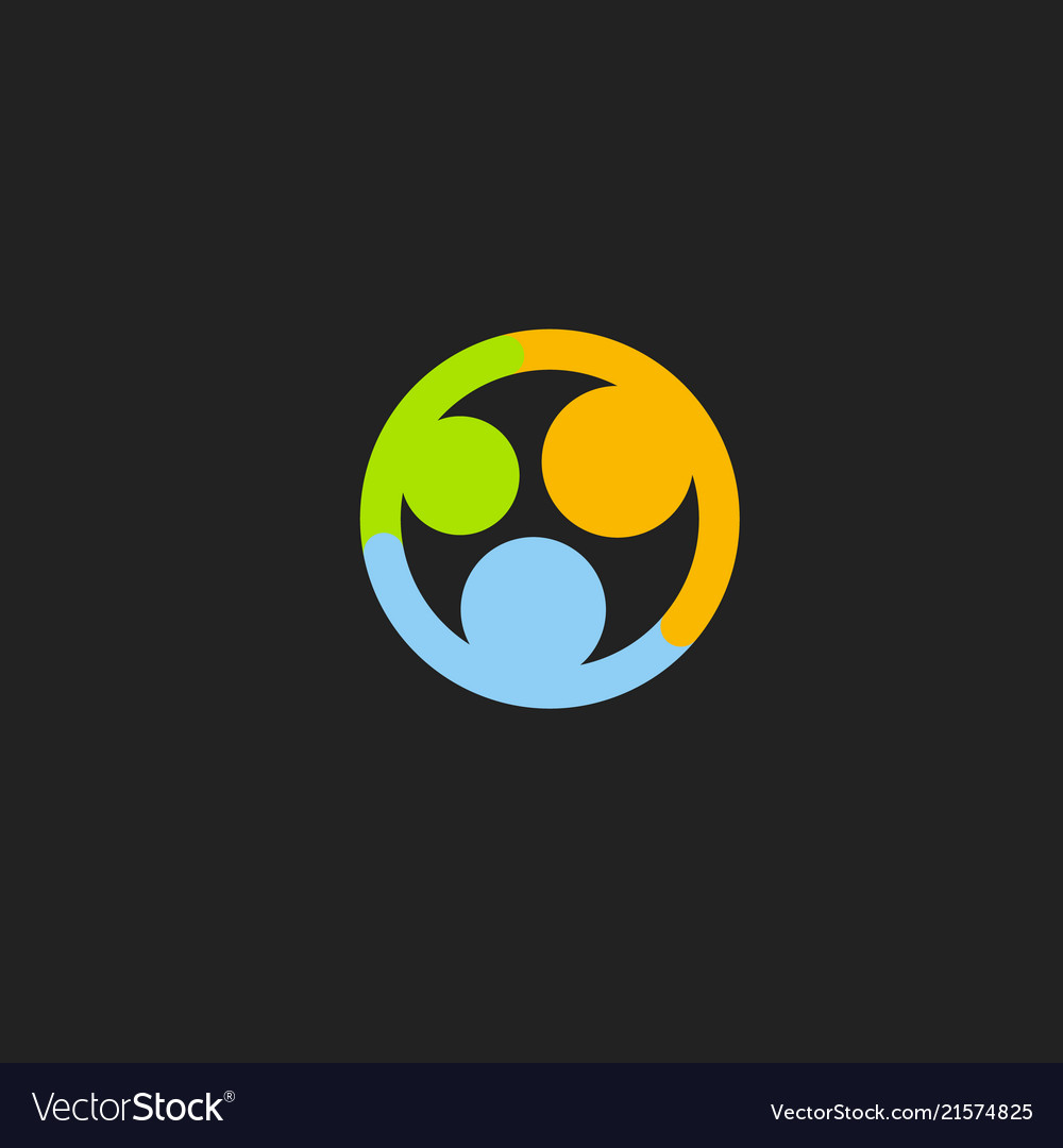Family abstract icon happy embrace colorful logo