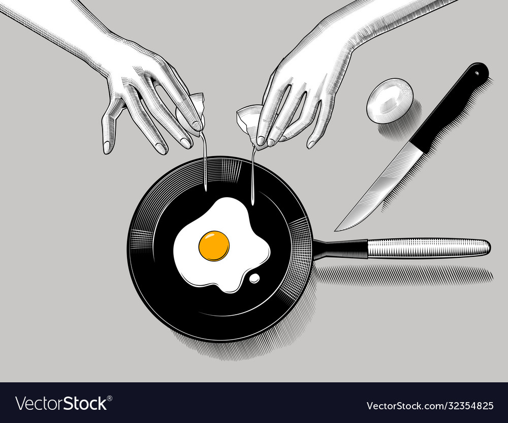 Female hands cook fried eggs