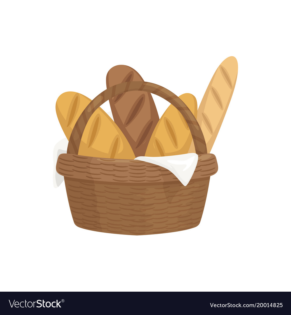 Fresh baguettes in wooden basket fresh baked vector image