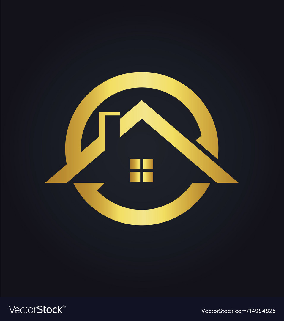 House icon roof gold logo