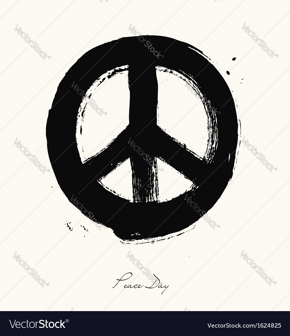 Isolated hand drawn peace symbol brush style