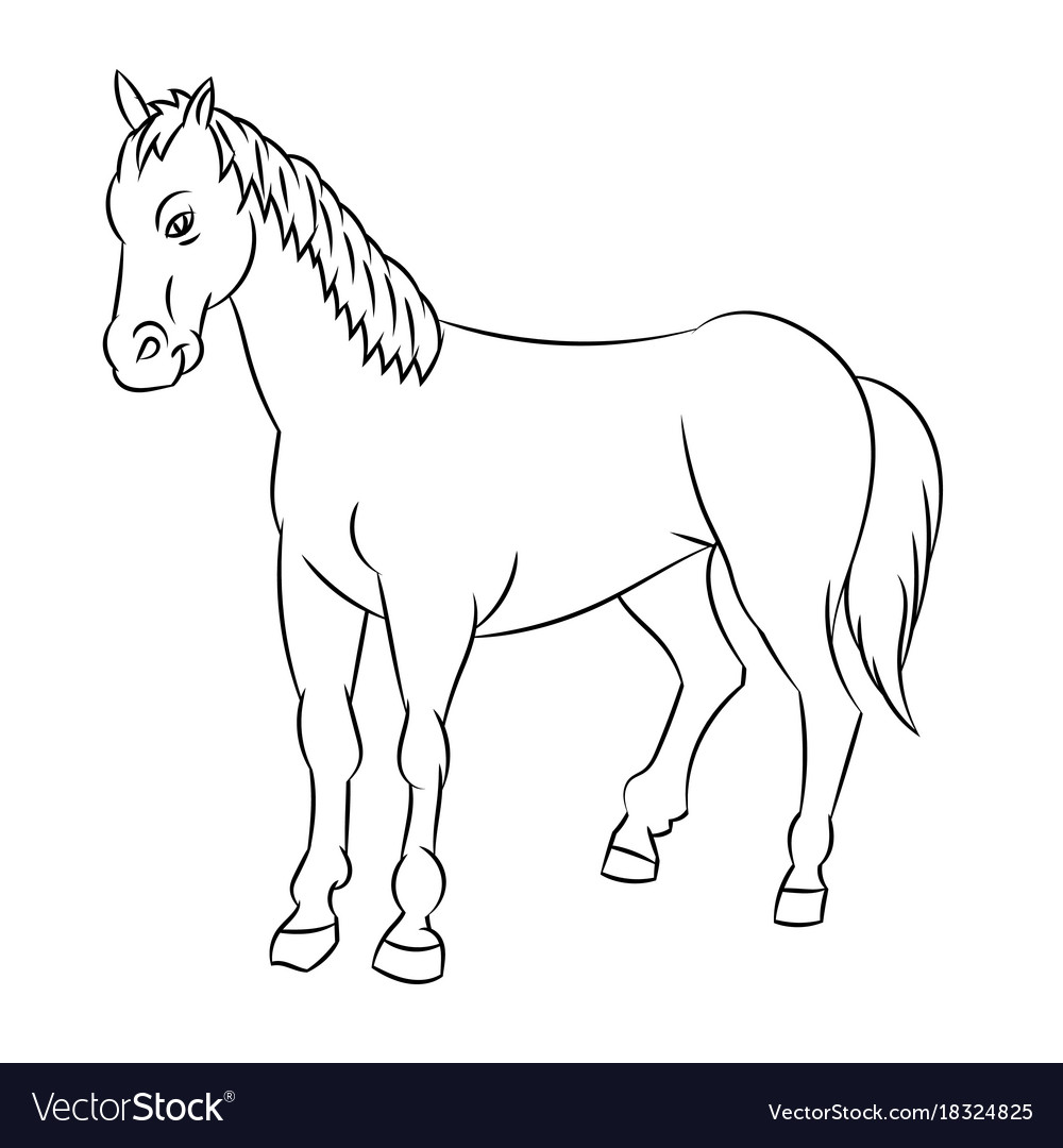 Line Drawing Of Horse Simple Line Royalty Free Vector Image