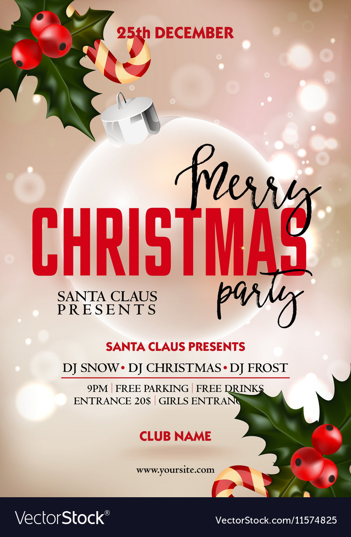 Christmas Party Poster.Merry Christmas Party Poster Design