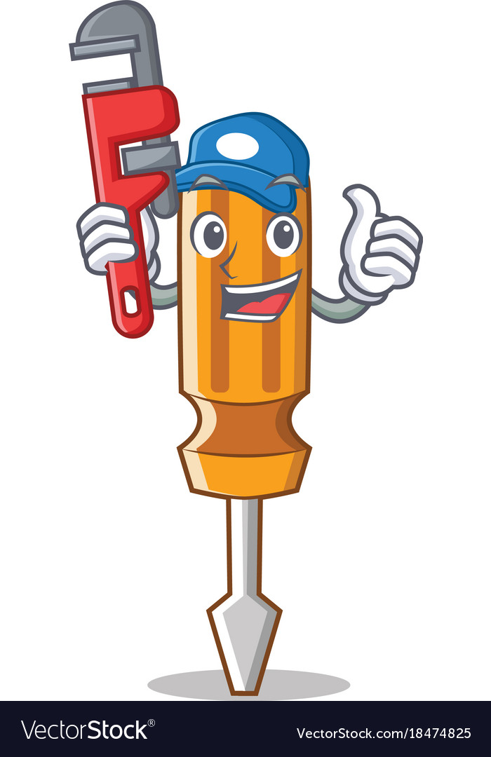 Plumber screwdriver character cartoon style