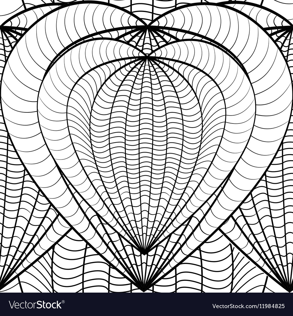 - Seamless Decorative Love Heart Coloring Book For Vector Image