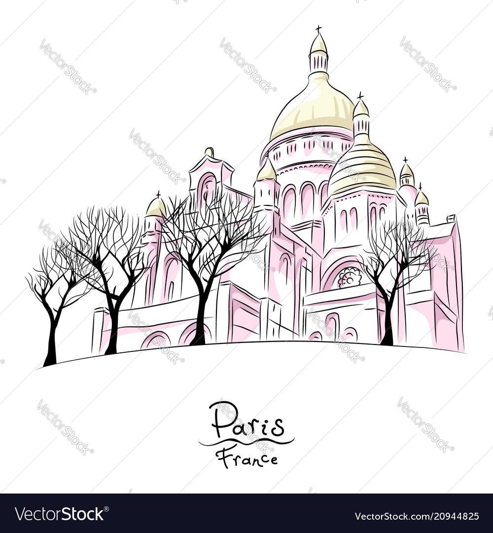 Sketch of sacre coeur in paris france