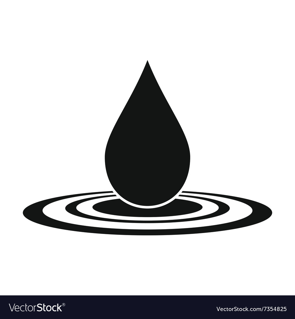 Water drop black simple icon Royalty Free Vector Image