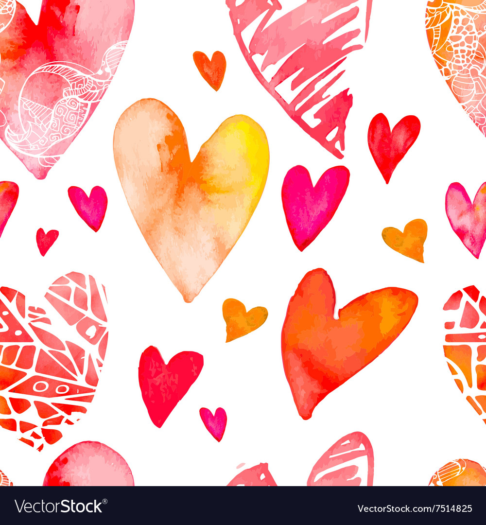 Watercolor heart Valentine Day Seamless