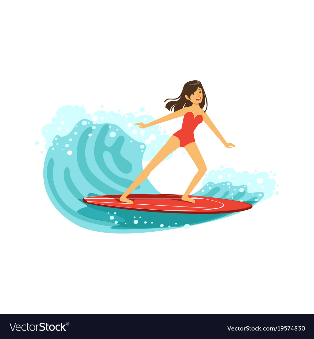 Beautiful brunette girl in red swimsuit surfing on vector image