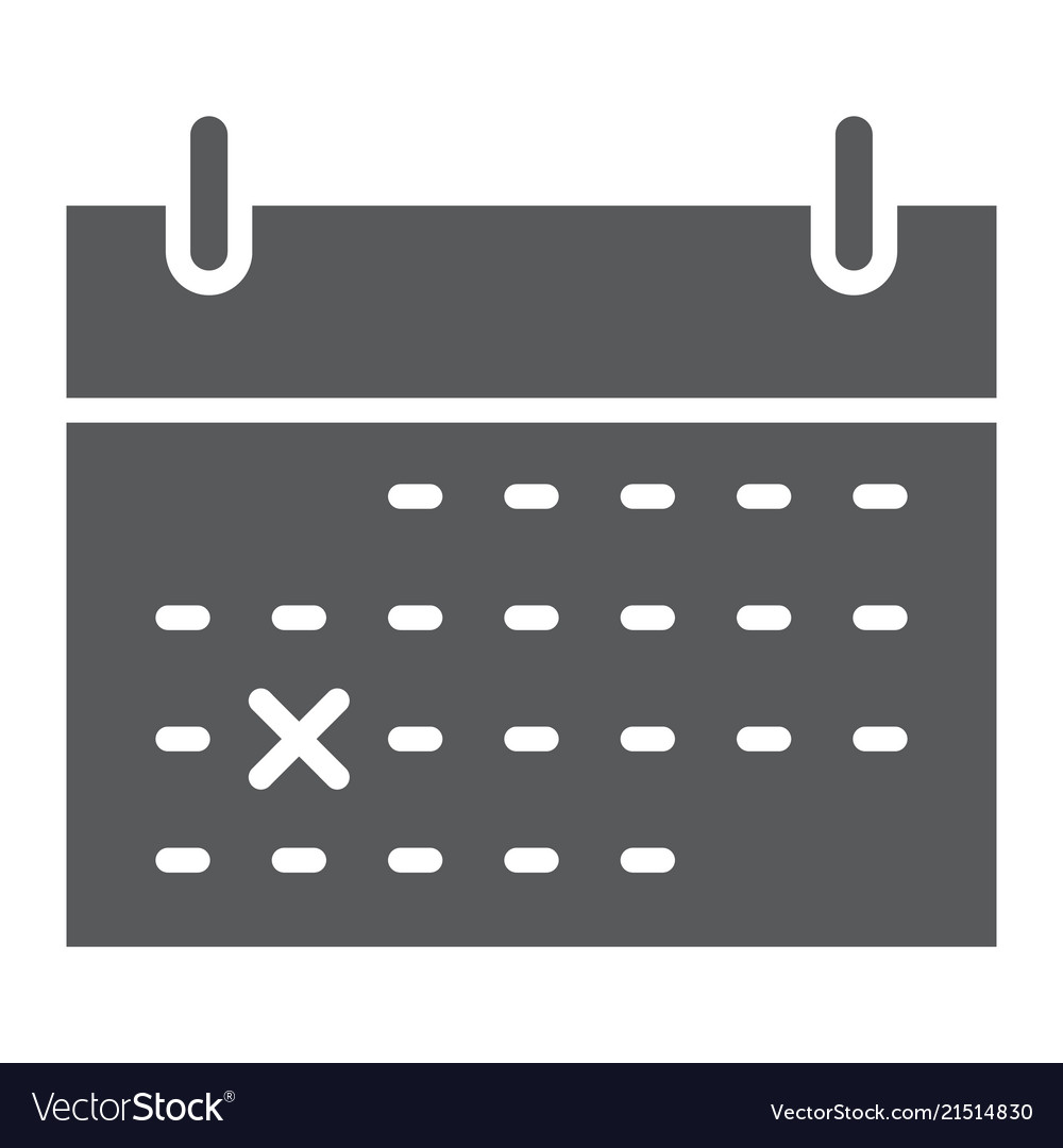 Calendar glyph icon office and work list sign