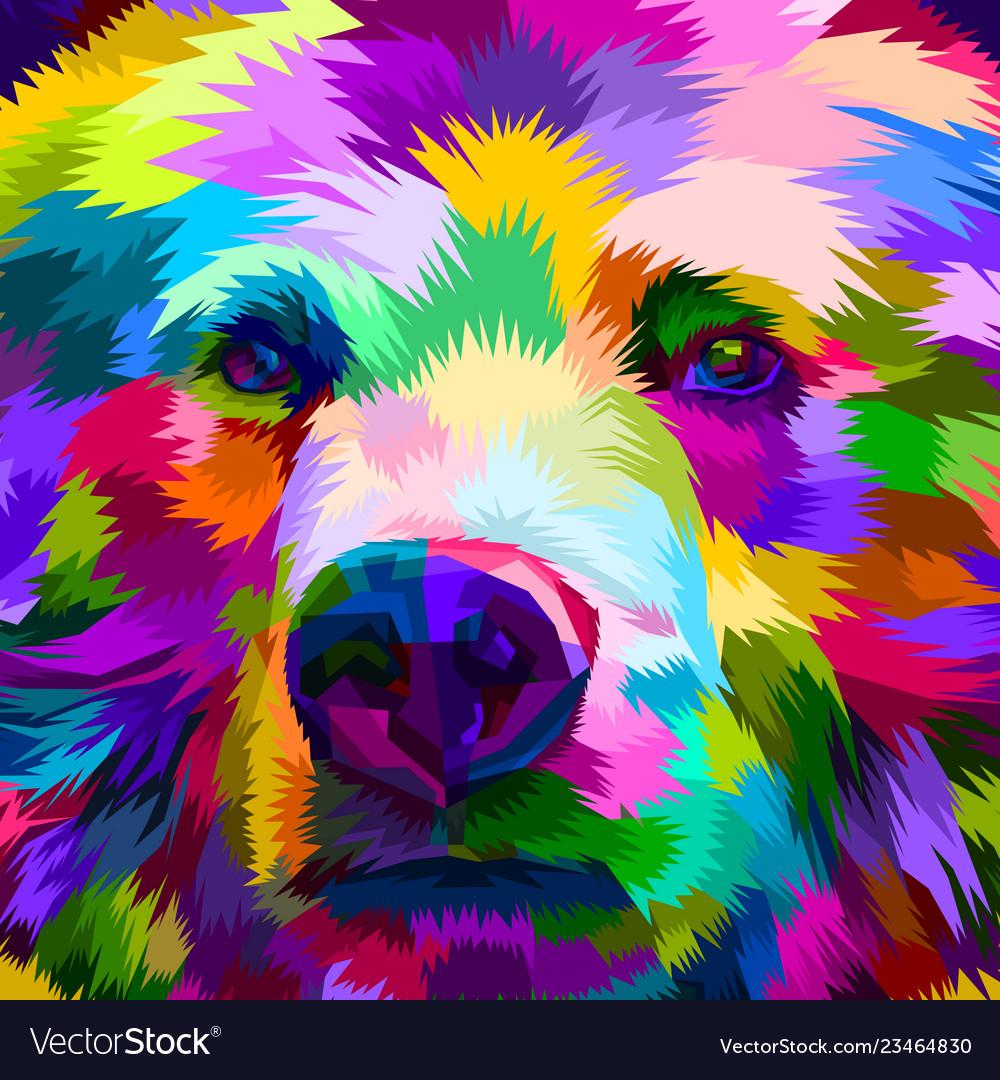 Colorful bear close up