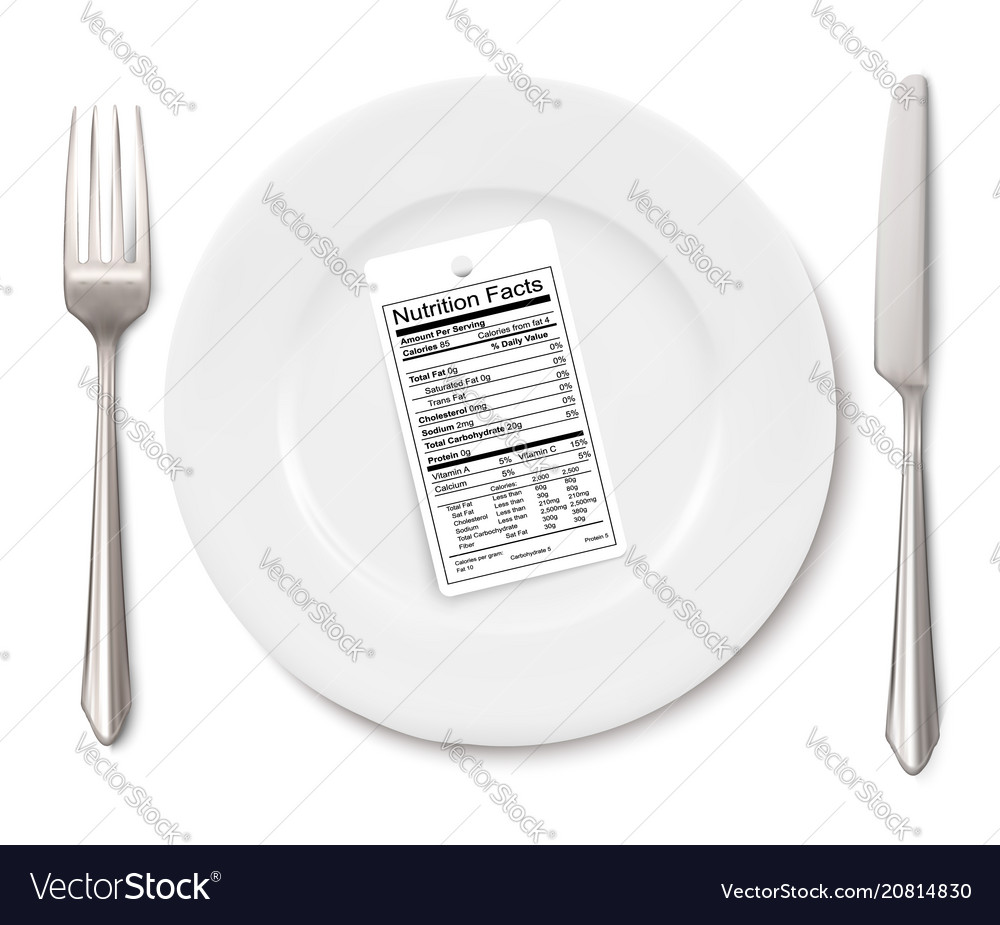Concept of diet nutrition facts label instead of