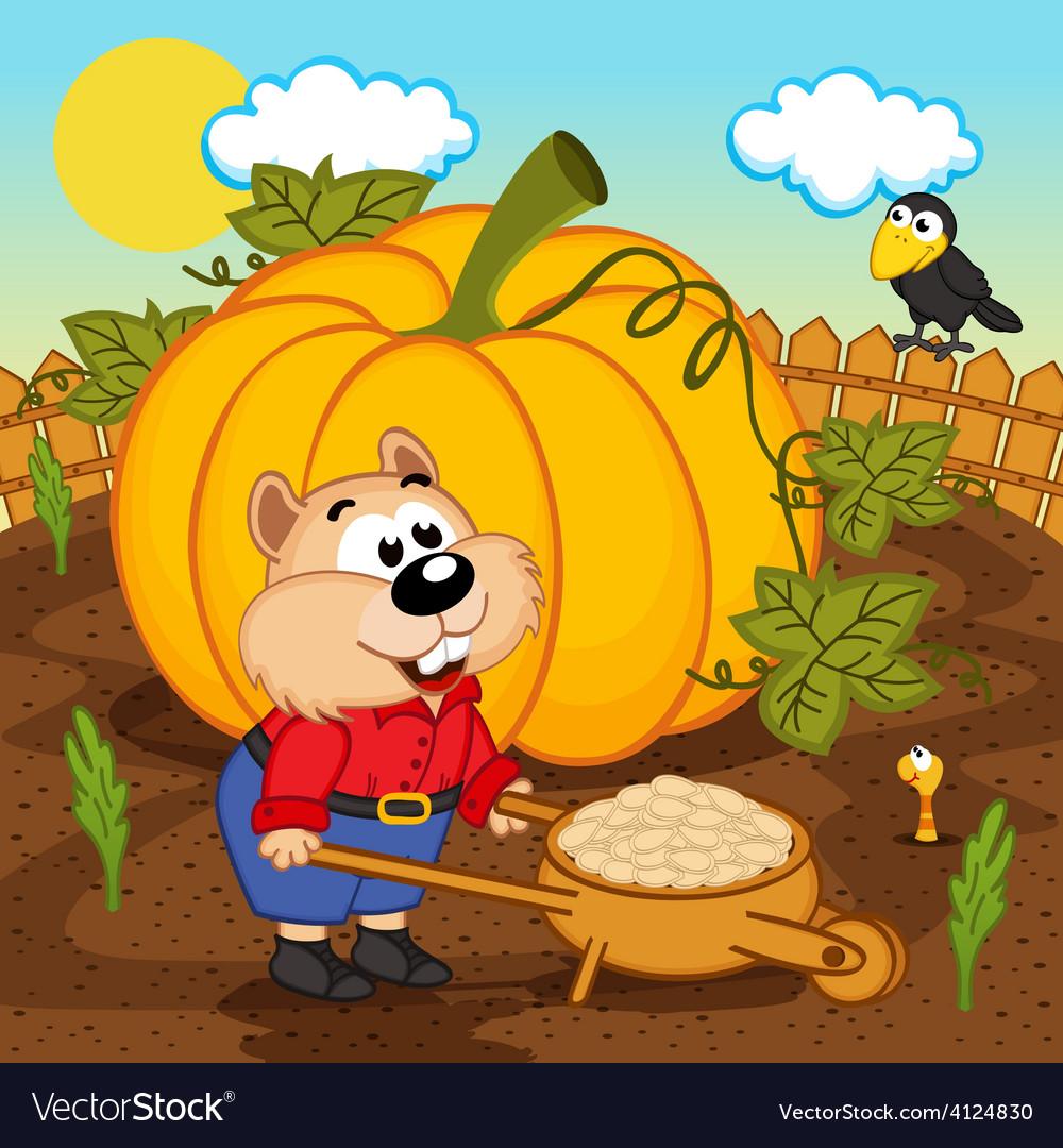 Hamster with pumpkin seeds vector image