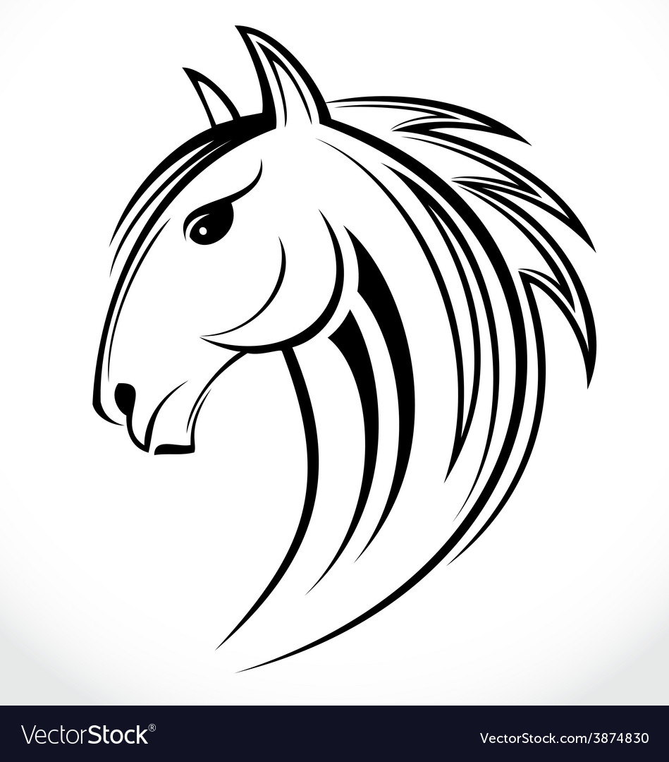 Horse Head Tribal Vector Image