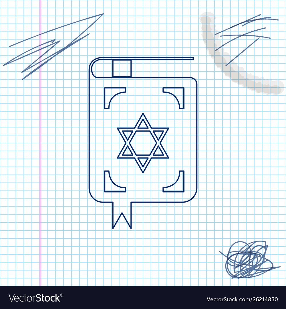 Jewish torah book line sketch icon isolated on