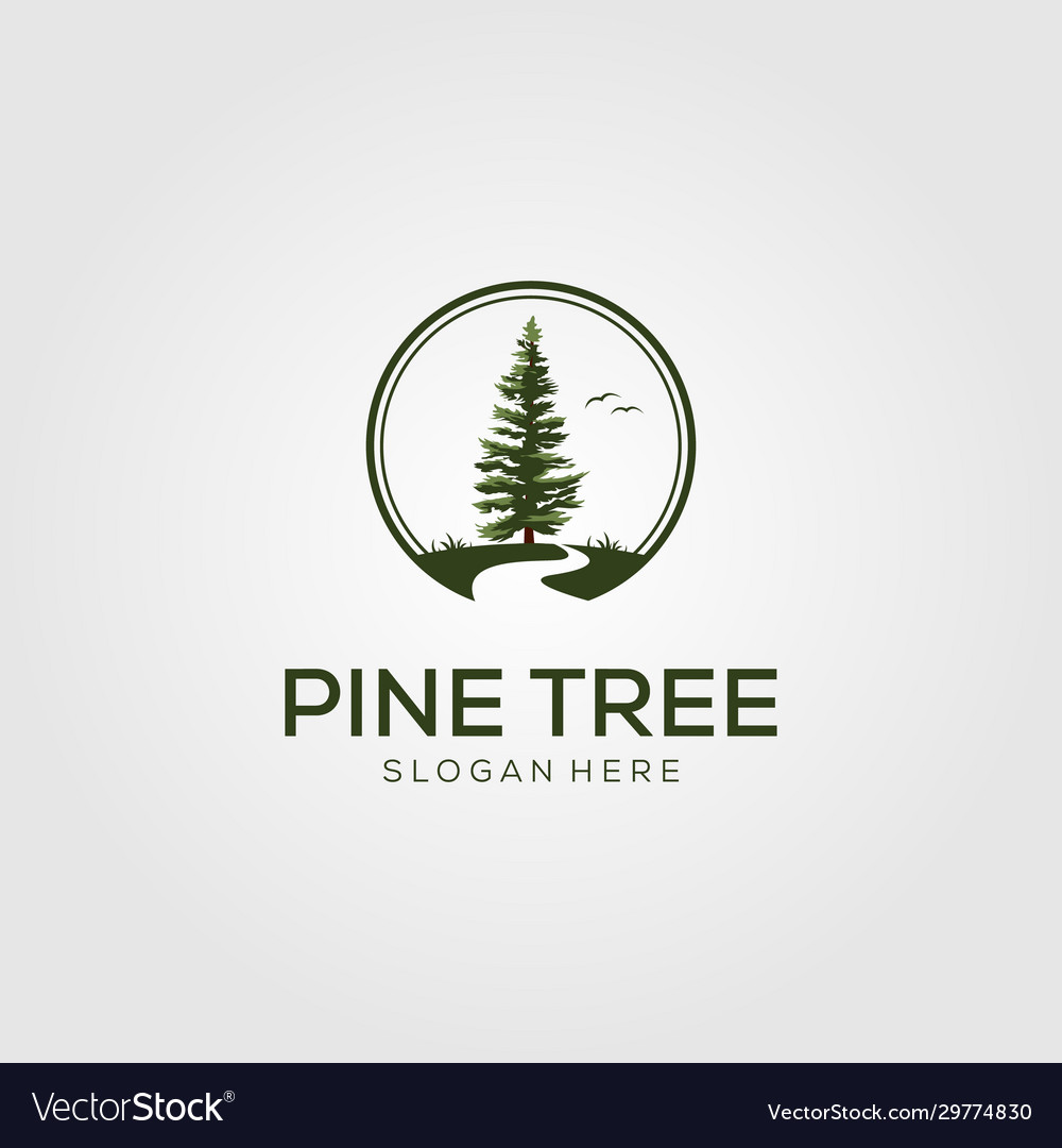 Pine tree with river logo