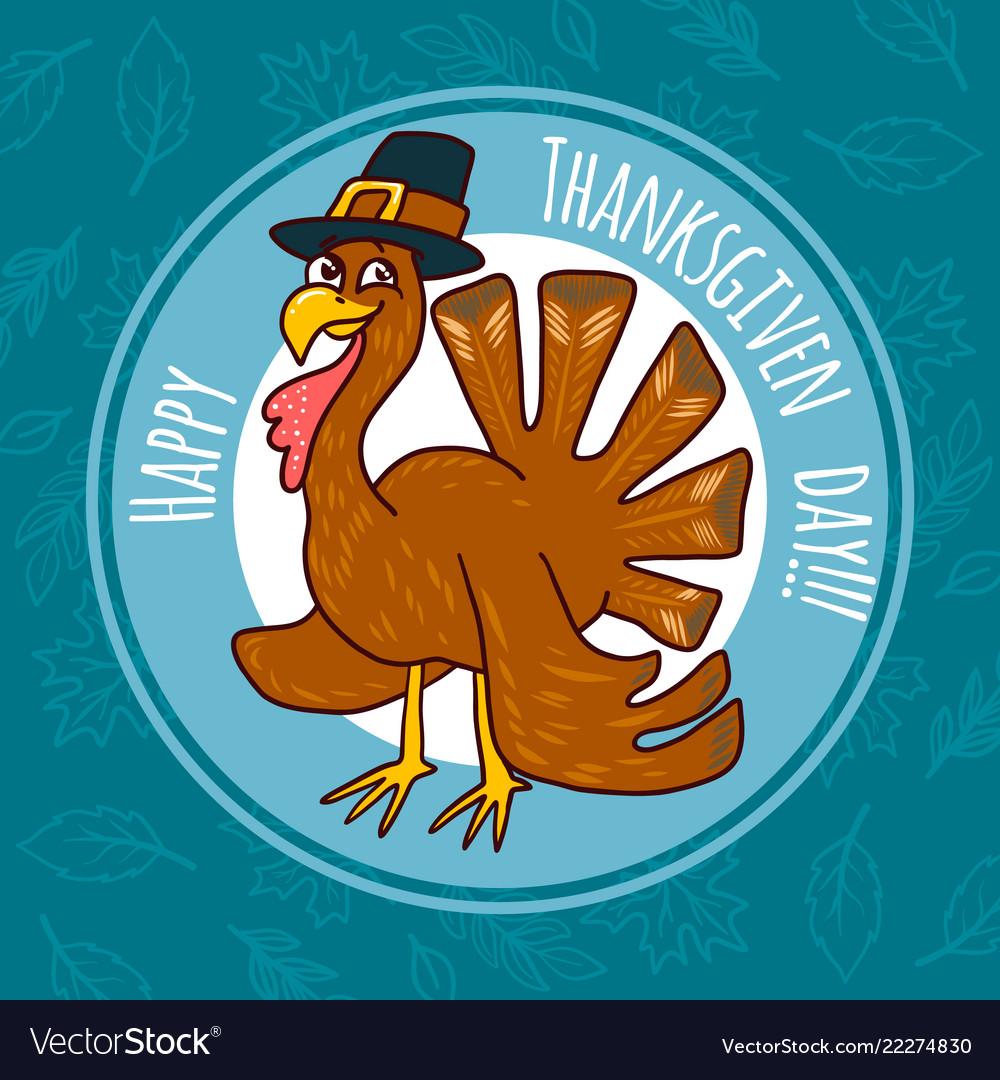 Thanksgiving turkey concept background hand drawn
