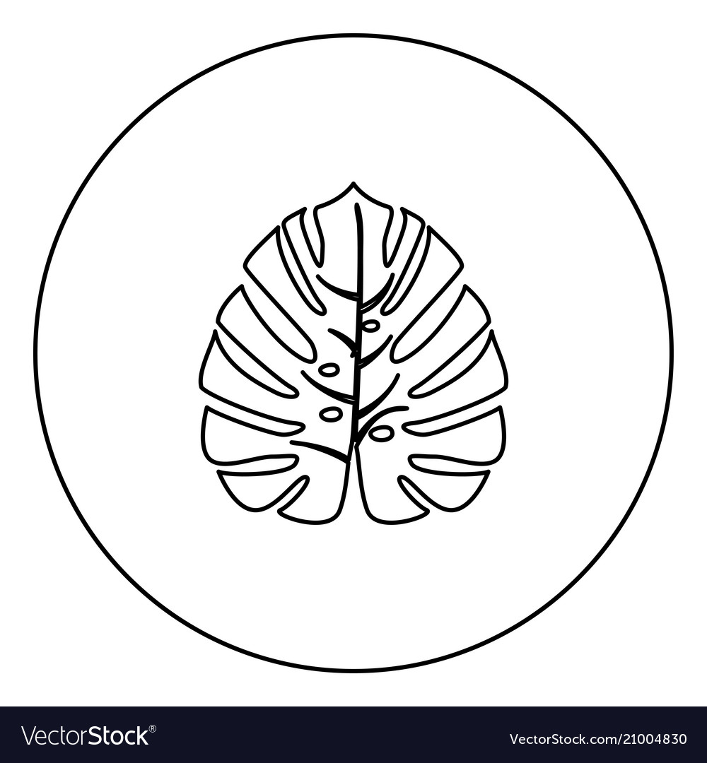 Tropical Leaf Black Icon Outline In Circle Image Vector Image Vector tropical floral botanical flower. vectorstock