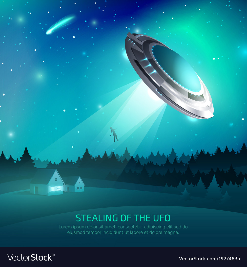 Alien Spacecraft Kidnapping Poster Royalty Free Vector Image