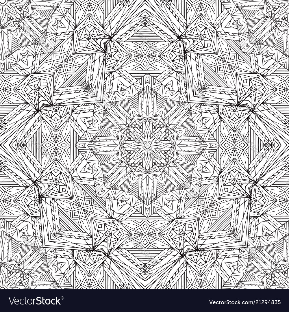 Arabic seamless black and white pattern doodle