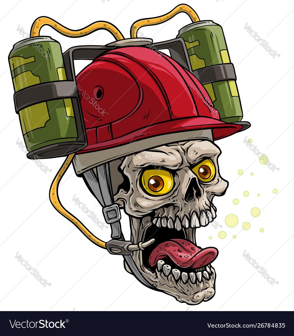 Cartoon human skull in red drinking beer helmet