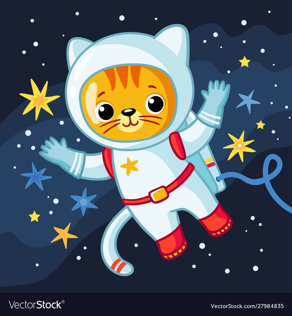 Cute cosmonaut cat in a spacesuit flies in outer