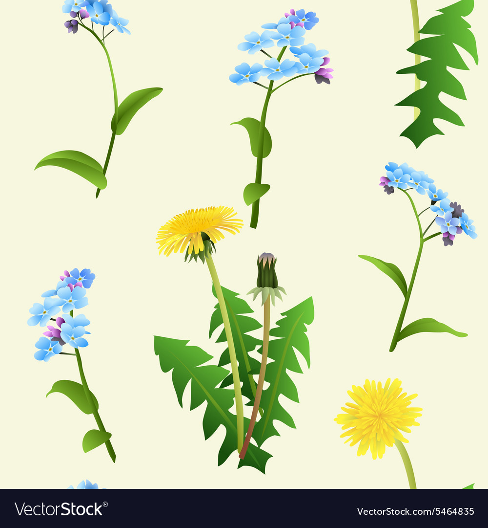 Dandelions and blue flowers seamless pattern