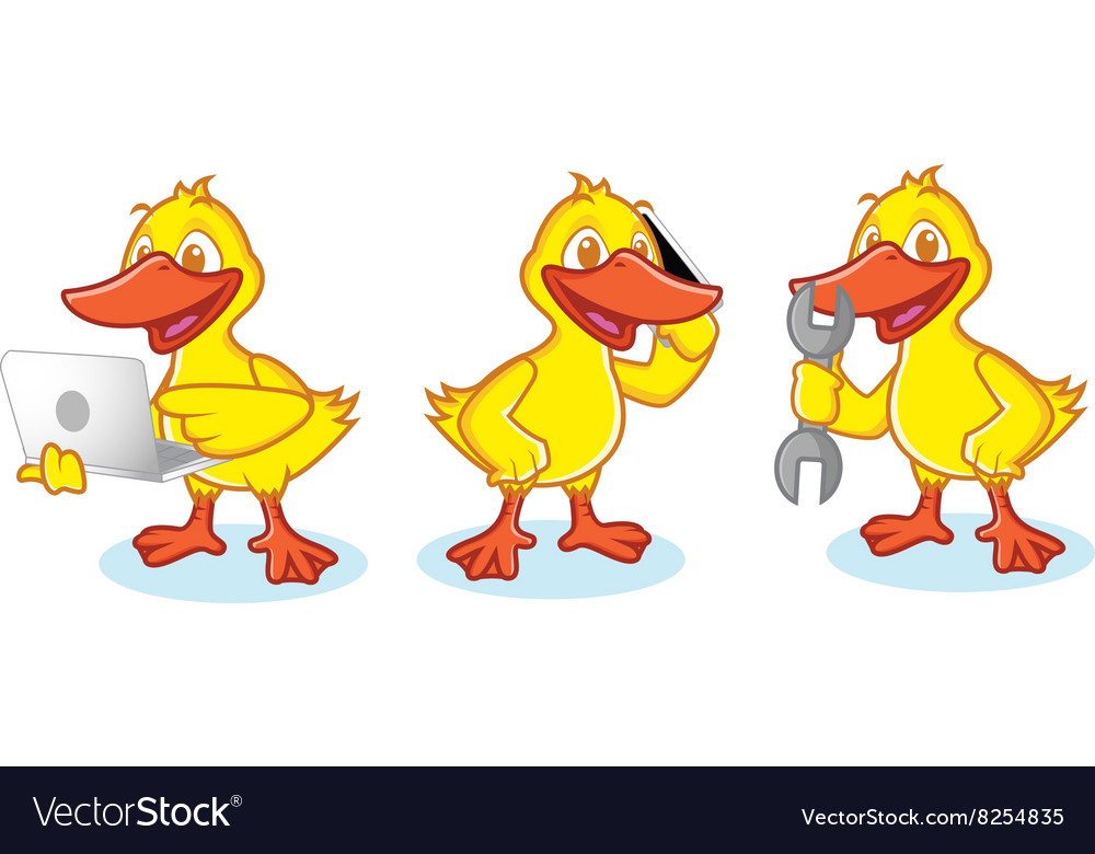 Duck Mascot with phone